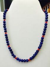 Lapis Lazuli and Red Coral Necklace and Earrings One-Of-A-Kind Sterling
