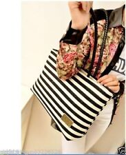 2017 Fashion Women Canvas Stripes Tote Shoulder Messenger Lady Handbag Hobo Bag