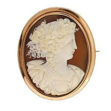 Vintage Estate Old Style 14k Rose Gold Detailed Profile Carved Shell Cameo Pin
