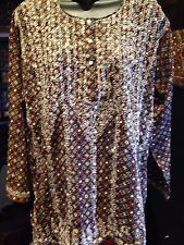 Vintage Indian Brown Hand Embroidered Paisley Trim Long Sleeve Tunic Shirt