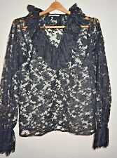 Vintage Saint Laurent Black Sheer Lace Ruffled Blouse size S/M Made in France