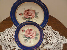 PARAGON Bone China Footed Cup & Saucer Pink Rose, Dark Blue Bands England