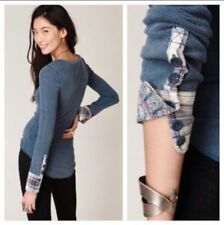 FREE PEOPLE WE THE FREE Lou Flannel Thermal Cuff Top Petrol Teal Blue L Large