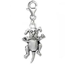 Dog With Bone Clip On Charm Pendant for European Charm Jewelry w/ Lobster Clasp