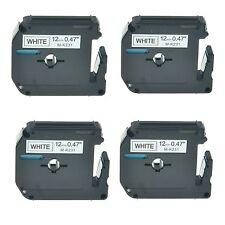 """4PK M-K 231 MK 231 Black on White Label Tape Cassette For Brother Printer 1/2"""""""