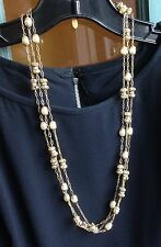 Vintage Signed Miriam Haskell 3 Strand Necklace Rondelles Pearls Gold Chain