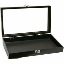 Jewelry Showcase Display Case Glass Top Portable Travel Box Black