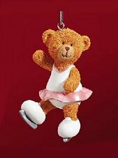 Russ Berrie® Skating Teddy Bear Christmas Ornament MINT - HAND PAINTED!