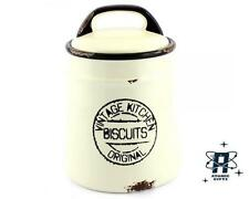 VINTAGE KITCHEN RETRO DISTRESSED STYLED BISCUIT BARREL COOKIE JAR WITH LID