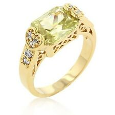 Gold Plated Filigree Peridot Cocktail Ring Green Cubic Zirconia Heart Size 9 USA