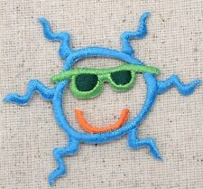 Iron On Embroidered Applique Patch Colorful Cool Smiling Sun with Sunglasses
