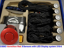 CISBO Vermillion Red Front Reverse Parking 6 Sensor Kit Buzzer Alarm LED Display