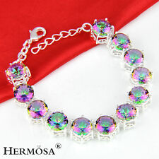 Special PRICE GIFT Rainbow Mystical Fire Topaz 925 Sterling Silver Bracelet 8""