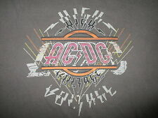 AC/DC HIGH VOLTAGE T SHIRT Retro Bon Scott Angus Young Flaw Band Tee Gray Large