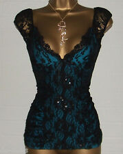 JANE NORMAN Black Lace Electric Blue Burlesque Basque Style Corset Small Size 14