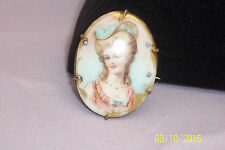 ANTIQUE VICTORIAN HAND PAINTED PORCELAIN PORTRAIT PIN BROOCH
