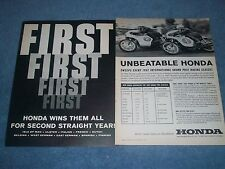 "1963 Honda Motorcycles Vintage 2pg Ad ""Honda Wins Them All For A Second Year"""