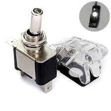 12V 20A Auto LED SPST Interruttore Levetta Toggle Switch On/Off + Cover Bianco
