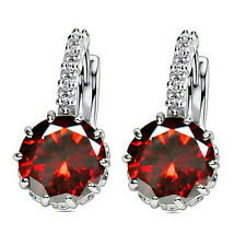 1 Pair Fashion Women Elegant Crystal Rhinestone Silver Plated Ear Stud Earrings