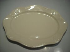 "Home 19"" Oval Scalloped Shell Trim Meat Serving Platter Plate Dish @ cLOSeT"
