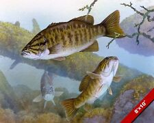 SMALL MOUTH BASS UNDERWATER LAKE FISH OIL PAINTING ART REAL CANVAS GICLEE PRINT