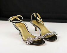 "Women's ""NINE WEST"" BLACK LEATHER & RHINESTONE 2"" Heel Size 8.5M-W/Box"