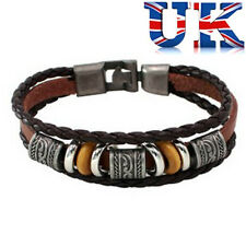 Mens Womens Unisex Brown Leather Surf Bracelet With Beads **UK Seller**