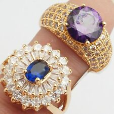 Wholesale Luxurious Rings Gold Filled Blue Purple Cubic Zircon Rings Size 9