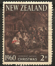 New Zealand Stamp - Scott #353/A140 2p Deep Brown & Red, Cream Used/LH 1960