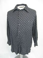 Artioli Size M Men's Long Sleeve Button Down Shirt black gray checked Italy