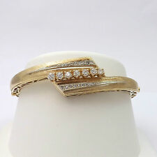 Vintage 14k Gold 1.2ctw Diamond Bypass Bangle Bracelet 18gr