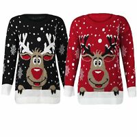 MENS LADIES XMAS CHRISTMAS JUMPER NOVELTY RED NOSE RUDOLPH RETRO SWEATER JUMPERS