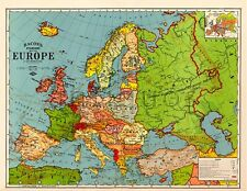 "Bacon's Standard Wall MAP of EUROPE circa 1921 24"" x 32"" Big Large Print Poster"