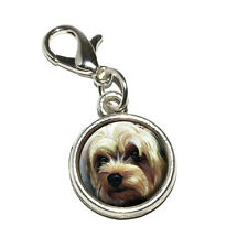 Yorkshire Terrier - Yorkie Dog Pet - Antiqued Bracelet Charm with Lobster Clasp