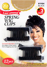 Qfitt Lace Covered Spring Wig Clips Fabric Edges Hair Comb 12pcs #1104 Black