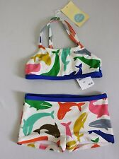 Mini Boden Colorful Multi Whales Swimsuit Set Bikini Top & Boy Shorts 3-4y NWT