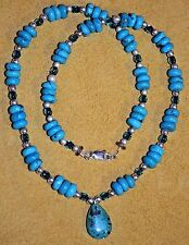 Turquoise Tear Drop Pendant Southwestern Flair Necklace With Glass & Metal Beads