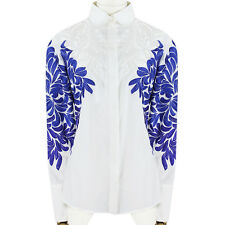 Stella McCartney White Blue Embroidered Round Collar Shirt Blouse IT42 UK10