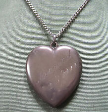 FAB ANTIQUE VICTORIAN STERLING SILVER HEART LOCKET NECKLACE MARGARET 1900 & PIC