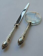 C.H.Beatson HM Silver Handle Magnifying Glass & Letter Opener Sheff 1932