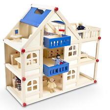 Möbliertes Puppenhaus Villa aus Holz mit 3 Etagen Balkon Möbeln und Puppen NEU