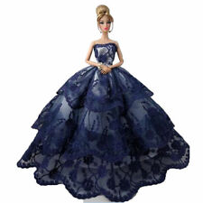 Barbie Doll Fancy Wedding Costume Multi-layer Laces Cake Dress Dark Blue
