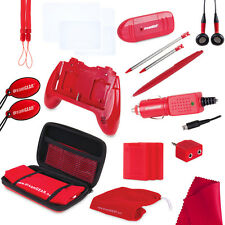 NEW RED  20 in 1 Kit for 3DS Speaker Grip Case Stylus Earbuds Car Charger +More