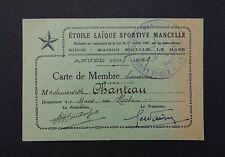 Carte de membre Etoile Laïque Sportive Mancelle Le Mans 1939 Chanteau