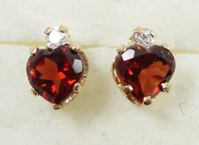 10K Yellow Gold Spessartite Garnet CZ Earrings Heart Shape Prong Set Dainty Stud