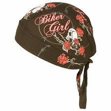 Ladies Womens Biker Girl Just Ride Headwrap Headscarf Adjustable Durag Hat Cap