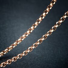 "Fine Pure 18k Rose Gold 15.7""L Necklace 2.5mm Lucky Rolo Link Chain 2.5-3g Au750"