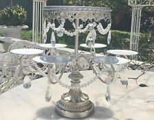 Shabby Crystal Prisms Silver Chic Cupcake Candelabra Table Display Cake Stand