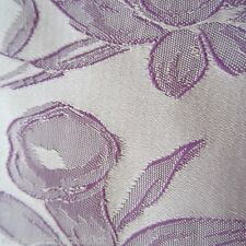 VINTAGE FABRIC CRAFT SEW DRESS LAMPSHADE BAG PURPLE SATIN DAMASK 1960S DAFFODILS