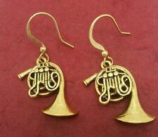 French Horn Earrings Cute dangle style gold plated jewellery brass instrument